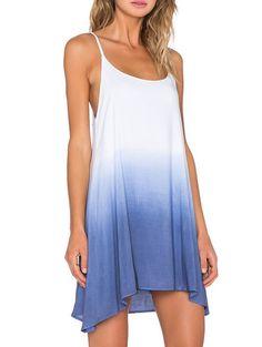 Color-block Spaghetti Strap Tie-dye Trapeze Dress