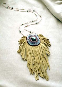 Fringed Beaded Leather Bag Necklace Labradorite by LaECLECTICa. $90.00 USD, via Etsy.