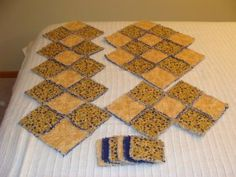 Rag Quilt Yellow/Dark Blue Candle Mats/Table Runner & Coasters