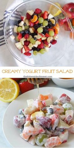 Creamy Yogurt Fruit Salad is a delicious alternative to a sweet dessert! Packed with lots of fruit greek yogurt and honey this salad will not disappoint! Breakfast Fruit Salad, Fruit Salad With Yogurt, Fruit Salad Making, Creamy Fruit Salads, Best Fruit Salad, Summer Salads With Fruit, Fruit Salad Recipes, Yogurt Recipes, Desserts With Yogurt