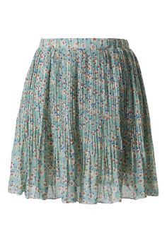 #Chicwish Floral Chiffon Pleated Skirt in Mint Green
