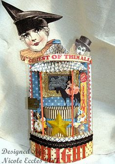 Nicole Eccles # Graphic 45 # altered box Could make out of cut out oat meal canister Circus Art, Circus Theme, Creepy Circus, Altered Tins, Altered Art, Graphic 45, Paper Dolls, Art Dolls, Puzzle Photo