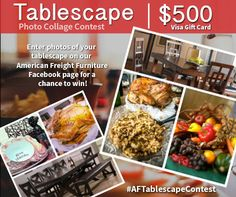 We want to see your Thanksgiving Tablescape, paired with your dream table from American Freight, for a chance to kick-off the holiday shopping season with a $500 Visa Gift Card. Submit your entry here: http://on.fb.me/1prx3Nt  #AFTablescapeContest #AmericanFreight #PhotoContest