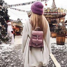 Bag: holiday season backpack coat white coat beanie christmas tumblr mini backpack dusty pin knitted