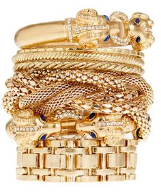 Gold bangles with a touch of blue