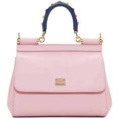 Dolce and Gabbana Pink Mini Miss Sicily Bag ($1,275) ❤ liked on Polyvore featuring bags, handbags, shoulder bags, pink, studded leather purse, pink leather purse, mini purse, studded leather handbags and leopard purse