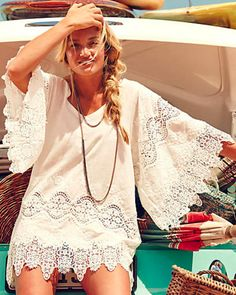 Beachy summer boho chic crochet embellished gypsy style tunic swimsuit cover up and modern hippie braided hair. For the BEST Bohemian fashion trends FOLLOW https://www.pinterest.com/happygolicky/the-best-boho-chic-fashion-bohemian-jewelry-gypsy-/ now