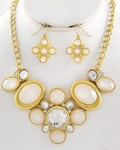 Bridesmaid jewelry.  21.99$ Gorgeous Matte Gold Clear & White Acrylic Gem Statement Jewelry Art Necklace Set