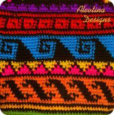 Crochet tapestry Wayuu Bag mochila colombian by AlevtinaDesigns