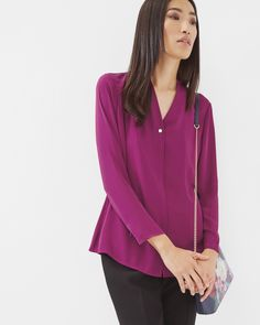 V-neck blouse - Grape | Tops & T-shirts | Ted Baker UK