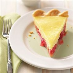 Rhubarb Cheese Pie Recipe -This tangy rhubarb pie is topped with a luscious cream cheese layer. —Stacey Meyer, Plymouth, Wisconsin