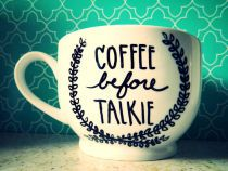 """COFFEE BEFORE TALKIE"" Large18oz Hand Illustrated Coffee Cup"