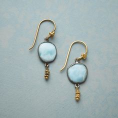 Playa? de Oro Earrings[Picked from SUNDANCE] Glowing 22kt gold vermeil brings sunlit radiance to larimar's oceanic hues. Oxidized sterling silver bezel. French wires. Handmade in USA. Approx. 1-1/2″L. $135.00 Buy It Now !!!