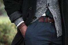 Peacoat, marled wool cardigan, black watch tie.