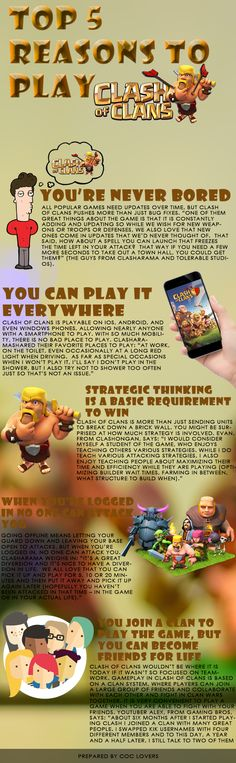 TOP 5 REASONS TO PLAY CLASH OF CLANS.  #CLASHOFCLANS #COCLOVERS #COCBASES #CLASHIAN