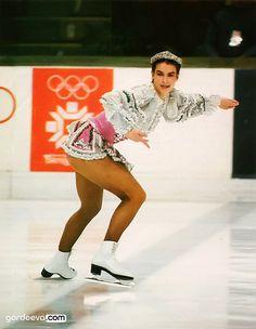 "Katarina Witt (GDR): 1984 short program: ""Csárdás"" by Vittorio Monti Katharina Witt, Kurt Browning, Youth Olympic Games, Beautiful Athletes, Ice Skaters, Olympic Champion, Sports Figures, Skating Dresses, Sports Stars"