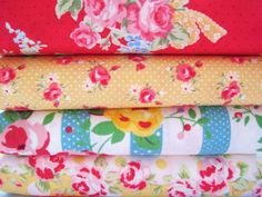 Shabby Chic Yellow Polka Dot Floral Fat Quarter Bundle