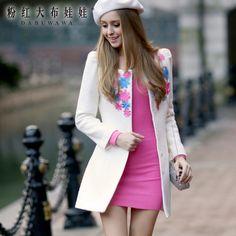Barato Brasão jaqueta menina boneca prego florzinha no longo casaco, Compro Qualidade Jaquetas Básicas diretamente de fornecedores da China: