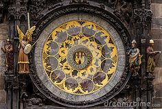 Historical medieval astronomical Clock in Prague on Old Town Hall .Czech Republic.
