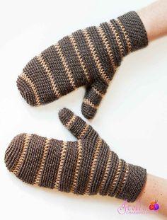 Mikill pattern by Stella Charming on Ravelry. Men's mittens in Bosnian crochet.