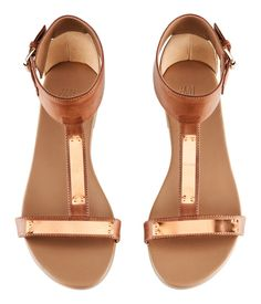 Brown Sandals with Gold Detail