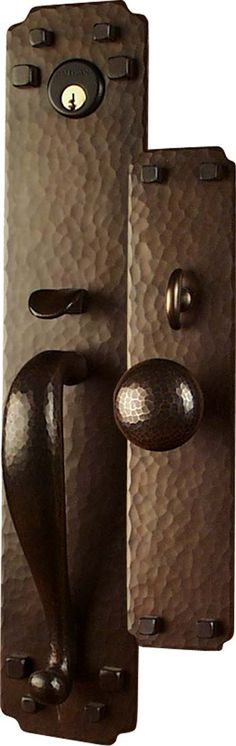 Arts and Crafts Style Hand Crafted Copper Large Entry Sets (Exterior Door Hardware) : Craftsmen Hardware Company, LTD