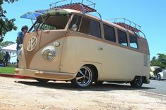 low and slow tan and brown VW Bus ♠ re-pinned by http://www.wfpblogs.com/category/toms-blog/