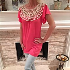 Pretty pink lace inset blouse with flutter sleeves Bright Pink fitted lace top blouse with flutter sleeves beautiful back lace detail!  Follow me on Instagram @kfab333 for more items Tops