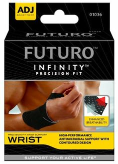 Futuro  Precision Fit Wrist Support, Adjustable by Futuro. $8.49. Antimicrobial treatment inhibits growth of odor-causing bacteria on the support. Flexible comfort strap adjusts for a personalized fit. Contoured shape is designed for optimal comfort and support. What's that in your hand? Tennis racket? Pruning shears? Crochet needles? Then the futuro infinity precision fit wrist support is designed for you. It offers technologically advanced compression and support for wris...