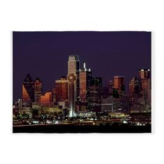 Dallas Skyline at Night 5'x7'Area Rug
