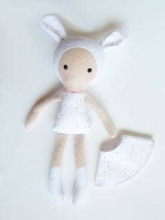 ♥ This lovely cute doll is handmade and designed by me. Shes made of very soft fleece fabric and organic cotton and stuffed with an anti allergenic