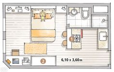 22 m² rented kitchenette for living and working , Mini Loft, Studio Apartment Layout, Apartment Design, Tiny Spaces, Small Apartments, Small House Plans, House Floor Plans, Apartment Floor Plans, Compact Living