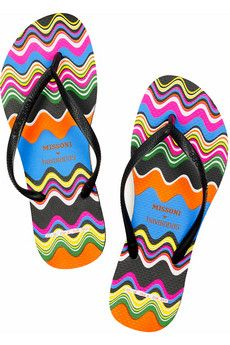 Missoni for Havaianas flip flops with bright multi-color swirls.