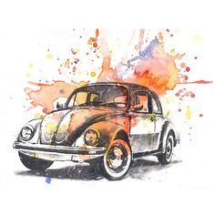 Retro Vintage Art Volkswagen Vw Beetle Watercolor Painting - Original... ($40) ❤ liked on Polyvore featuring home, home decor, wall art, drawings, fillers, illustrations, backgrounds, art, doodle and scribble