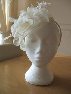 Ivory Cream Fascinator and Feather Fascinator by joannelamacraft, £30.00