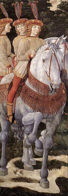 """Benozzo Gozzoli: """"De tocht van de drie koningen"""" (detail), Palazzo Medici-Riccardi, Florence. De Medici lieten zich te midden van een groot gevolg afbeelden als de drie koningen op weg naar het Christuskind. Te paard zitten drie zusters van Lorenzo de Medici."""