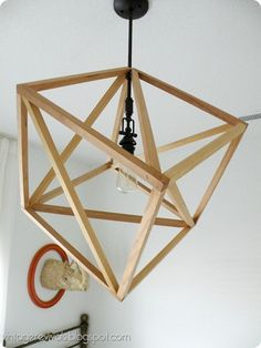 Hanging Cube Light from square wood dowels. Good DIY tutorial!