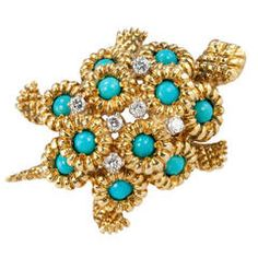 Turtle Brooch with Turquoise and Diamonds