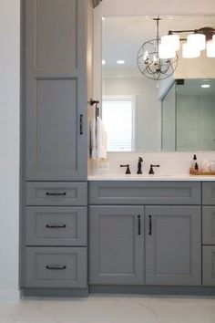 Gray Bathroom Vanity With Towers And Drawers For Storage In Remodeled By Kbf Design Gallery