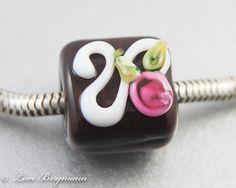 Handmade Chocolate Rose Universal Charm Bead by LoriBergmann, $20.00