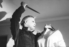 scary Black and White classic horror Halloween spooky KNIFE michael myers Jamie Lee Curtis cult classic Slasher halloween movies Halloween 1978 halloween movie classic slasher