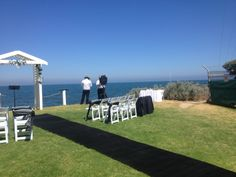Black Carpet Runner for a Garden / Beach Wedding at Beaumaris Squadron Motor Yacht Club Setup by Wedding Hire Melbourne
