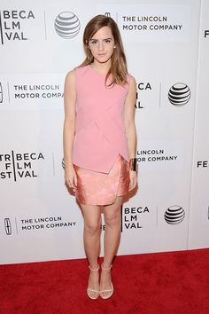 Best dressed - Emma Watson in a Narciso Rodriguez pink top and skirt