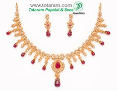 22K Gold Uncut Diamond Necklace & Drop Earrings Set with Rubies & Drops - DS201 - Indian Jewelry from Totaram Jewelers