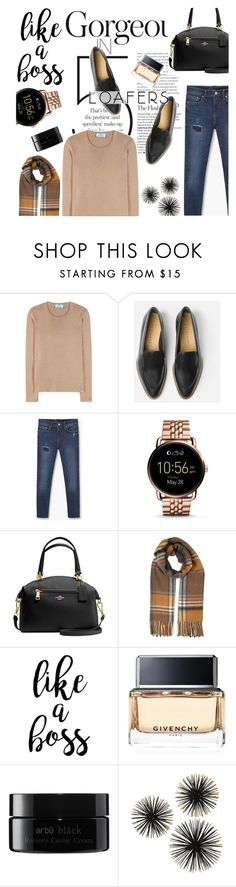 """""""Loafers: Black, Camel & Rose Gold"""" by perilousness-fashion on Polyvore featuring Prada, MANGO, FOSSIL, Coach, Miss Selfridge, Givenchy and arbū"""