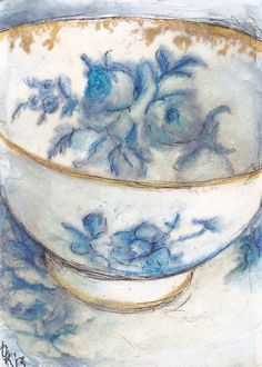 Day 5 ... acrylic, watercolour, micron pen and twinkling H2O's on handmade paper... http://traceyfletcherking.blogspot.com.au/ ... thanks to Tam Hess from http://artinflight.blogspot.com.au/ for the tea cup...xx