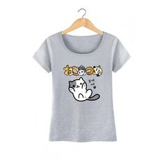 Cute Cartoon Cat Japanese Letter Printed Short Sleeve Round Neck Tee (38 AUD) ❤ liked on Polyvore featuring tops, t-shirts, short tops, cat t shirt, round neck t shirt, cat print t shirt and short sleeve tee