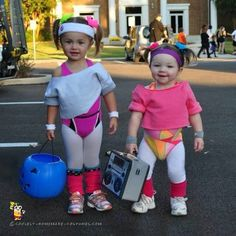 These cuties in handmade aerobics costumes.