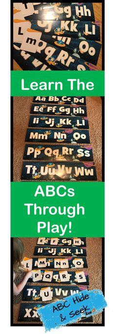 A quick blog post explaining ABC Hide and Seek - a super fun way to teach letter recognition to an energetic kiddo!