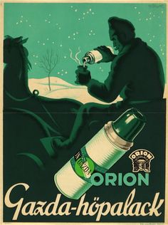 vintage Hungarian advertisement for Orion thermos bottles